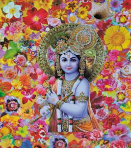 Lord Shri Shree Krishna with flowers_2010_70x50 2